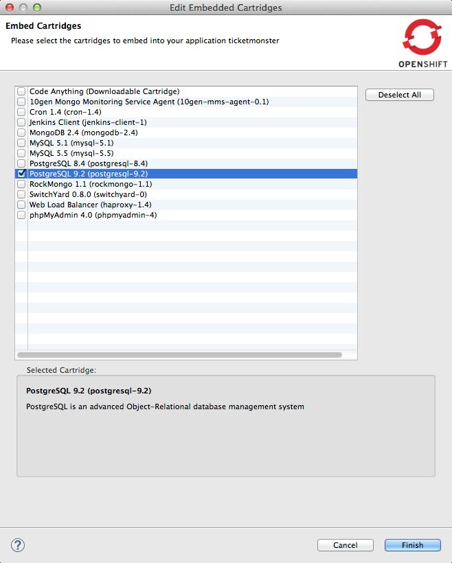 ticket monster tutorial gfx add postgresql embedded cartridge 4