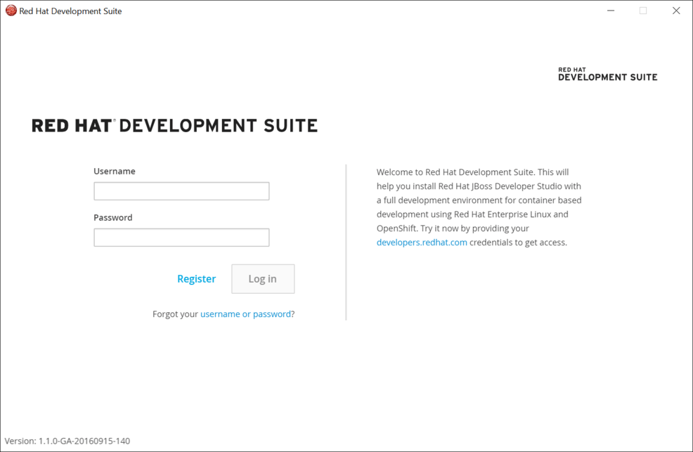 Login to Red Hat Developers
