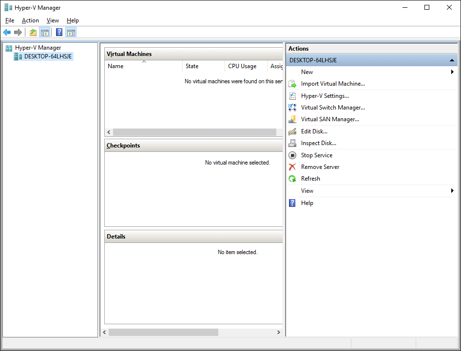 Screenshot Hyper-V Manager
