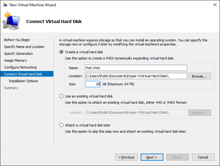 Screenshot Virtual Hard Disk Settings