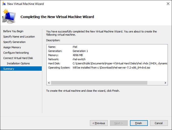 Screenshot VM Settings Summary
