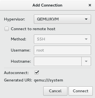 Screenshot KVM Add connection