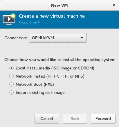 Screenshot KVM VM Create
