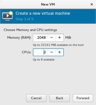 Screenshot KVM VM Create Memory and CPU