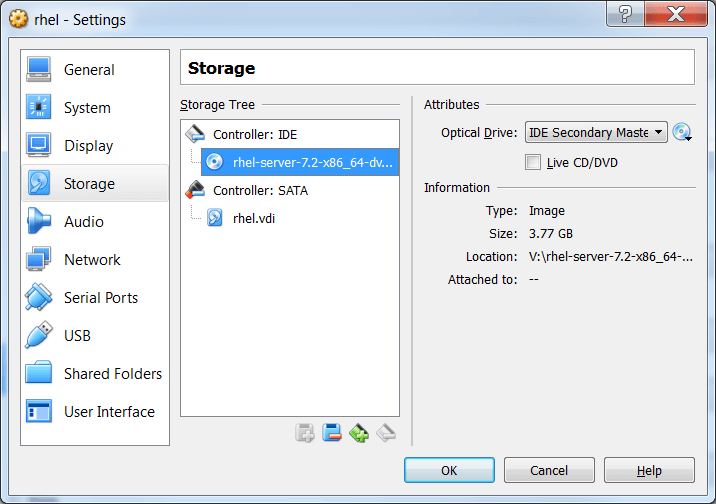 Screenshot Settings RHEL DVD